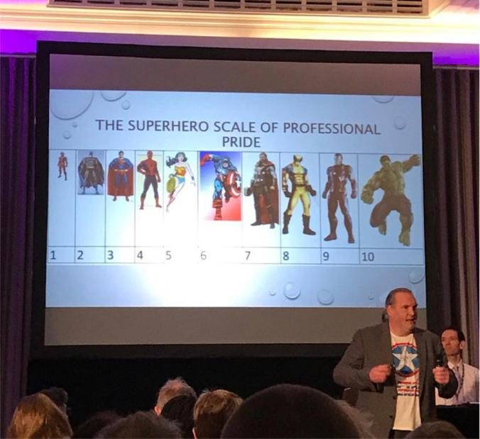 Image displaying the speaker and a rising scale of 10 superheros from Ant man to the Incredible Hulk.