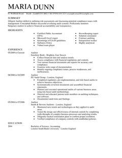 auditor cv example for accounting finance livecareer