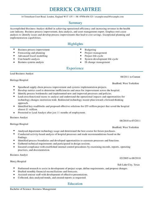 Business Operations Analyst Resume. Cover Letter Template For