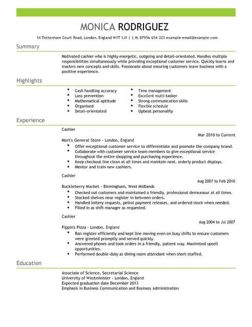 Resume For Cashier Examples. For Cashier Jobs Resume Cashier