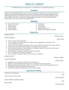 firefighter cv example for emergency services livecareer