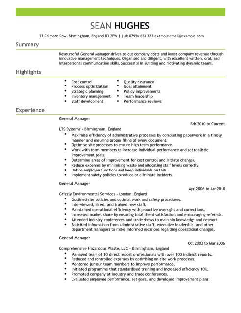 cv example for livecareer
