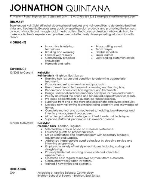 Hairstylist Resume Examples. Hairdresser Resume Examples Resume