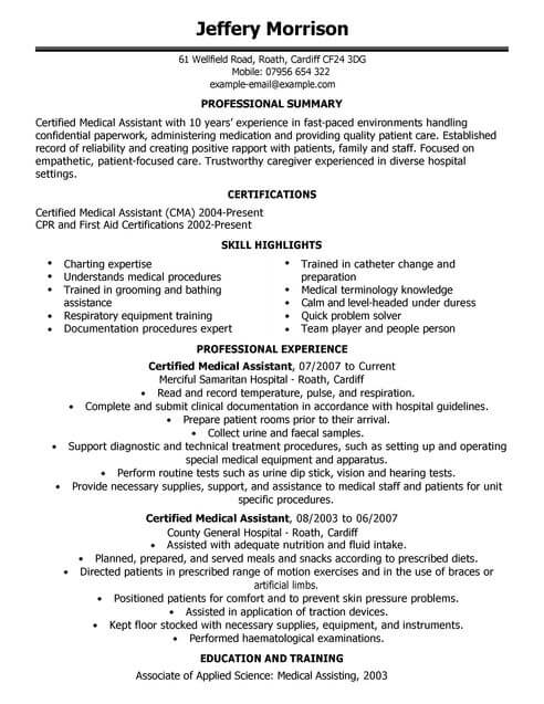 cv example for healthcare livecareer