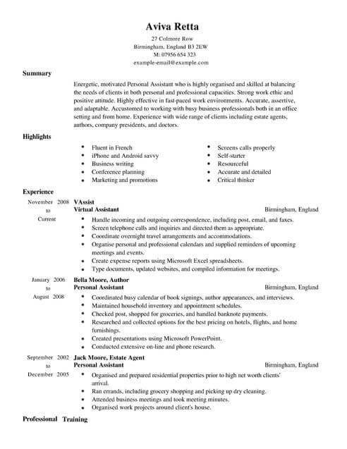 Accountant Resume Sample Uk Best Tax Preparer Example Personal Assistant Cv