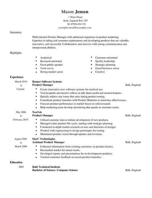 resume examples marketing product marketing manager resume sample