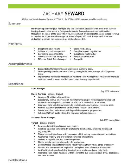 Automotive General Sales Manager Resume Sample. Assistant Manager