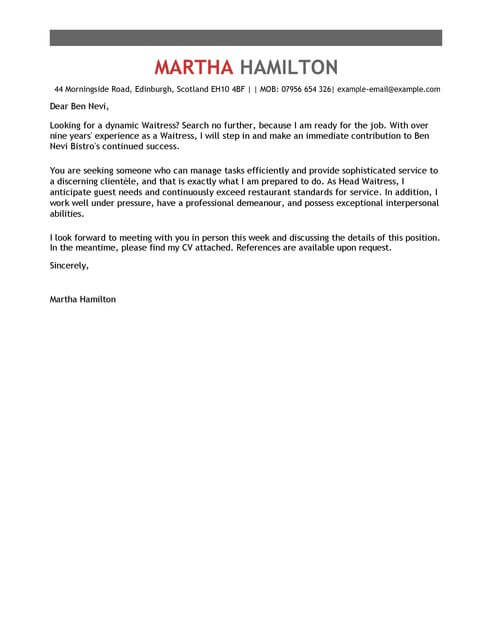 Cocktail Waitress Cover Letter Letters Amp Resumes