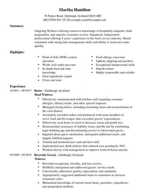 waitress cv example for restaurant bar livecareer resume examples