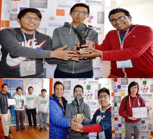 Educación premió a los cuatro mejores equipos de desarrolladores de soluciones de informática de la Jach'aton