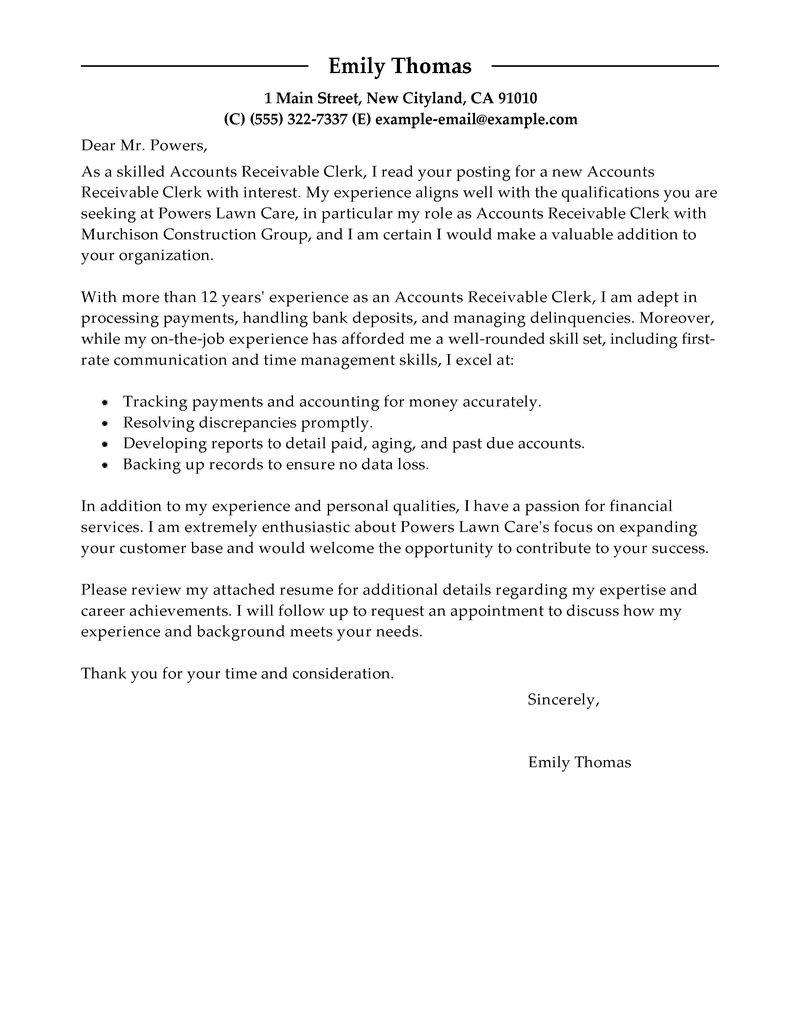 Accounts Receivable Clerk Cover Letter Sample