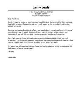 Resume Sle For A Caregiver Cover Letter