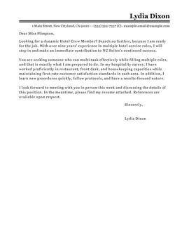 Room Attendant Cover Letter Sle