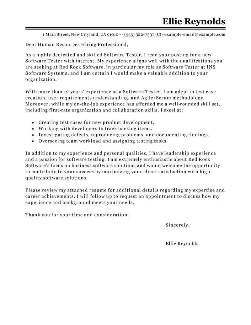 Sqa Tester Cover Letter expediter clerk cover letter