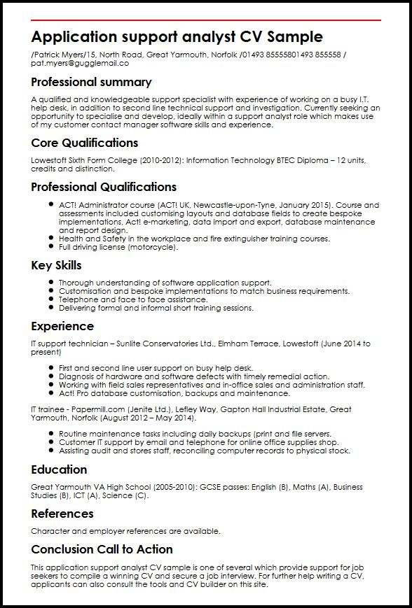 application support analyst cv sample curriculum vitae builder