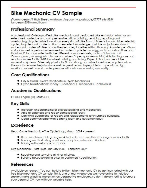 Motor Mechanic Resume Examples. Mechanic Resume Sample Resume
