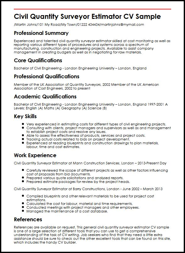 construction estimator cover letter samples templates ...