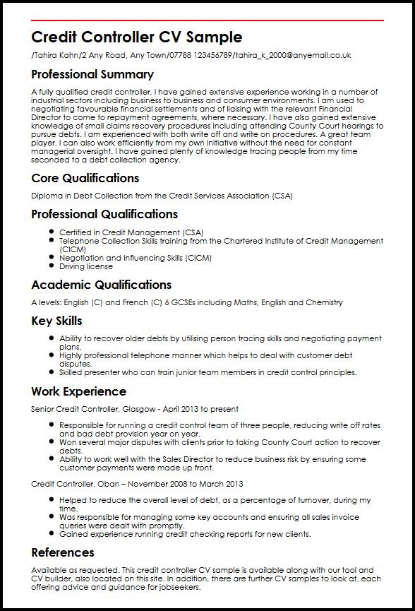 Sample Credit Controller Resume. Free Controller Resume Example