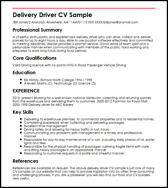 delivery driver cv sample curriculum vitae builder