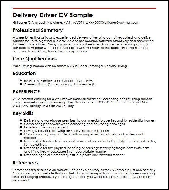 delivery driver cv sample curriculum vitae builder