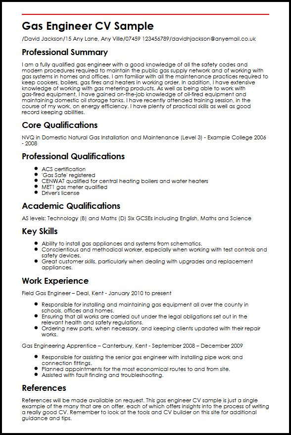gas engineer cv curriculum vitae builder gas engineer cv