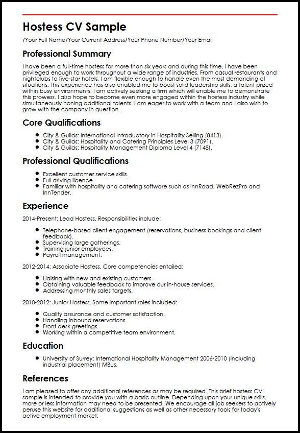 Hostess Cv Resume Restaurant Skills
