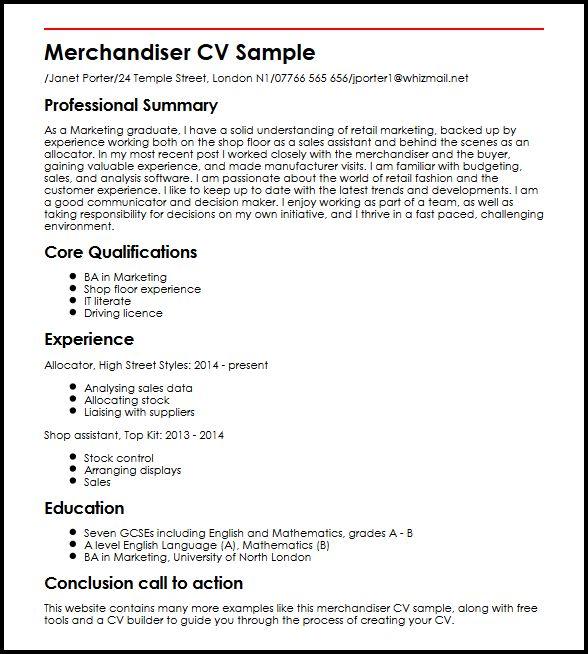 Free merchandiser resume sample