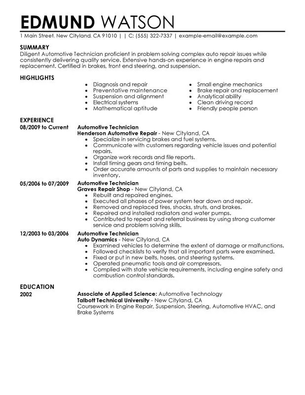 Perfect Resume Format Sample. Unforgettable Automotive Technician