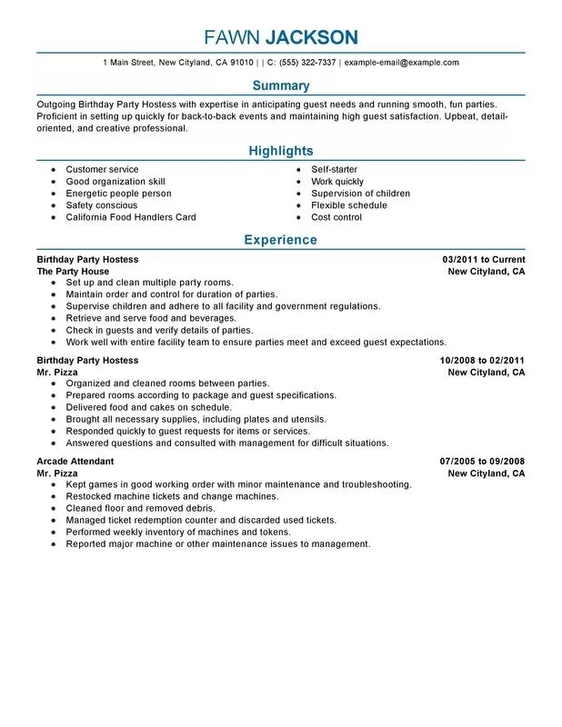 restaurant host resume
