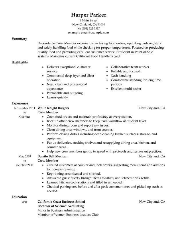 crew member resume sample my perfect resume