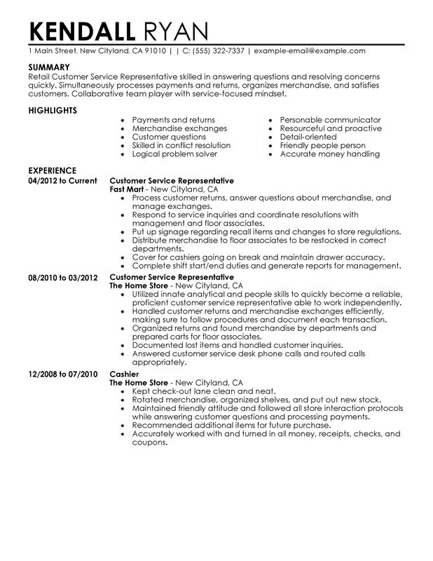 customer service resume job description