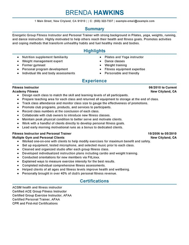 fitness and personal trainer resume sample my perfect resume