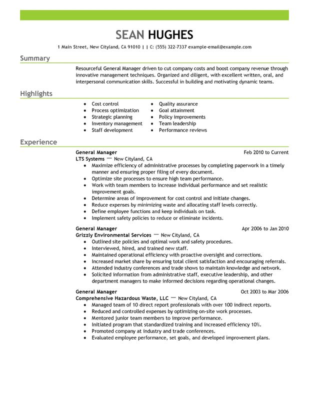 unforgettable general manager resume examples to stand out