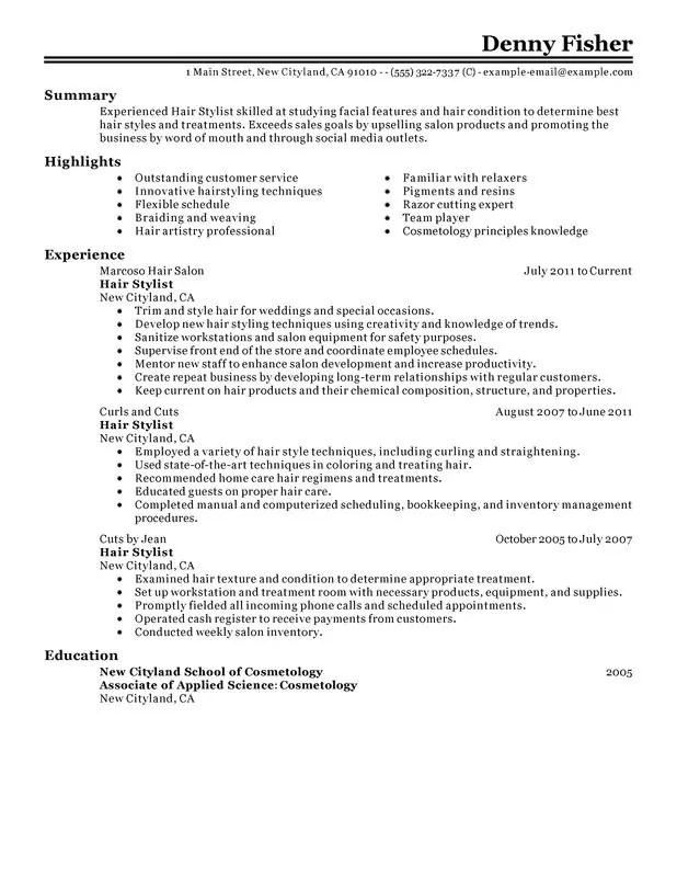 Hair Stylist Job Description Resume - Resume Sample