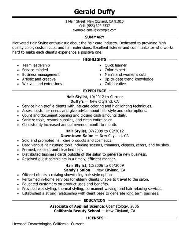 Perfect Resume Format Sample. Hair Stylist Resume Sample My
