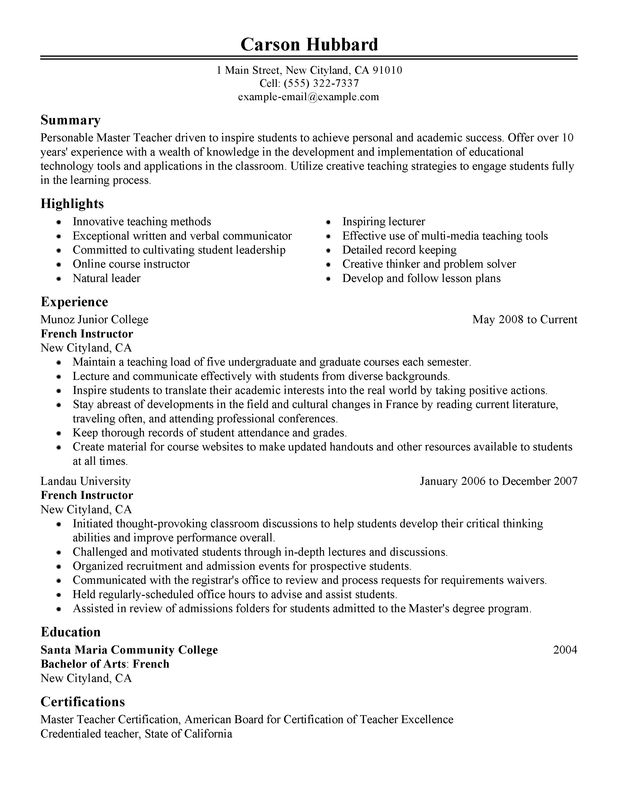 resume summary examples teaching grant proposal sample pdf