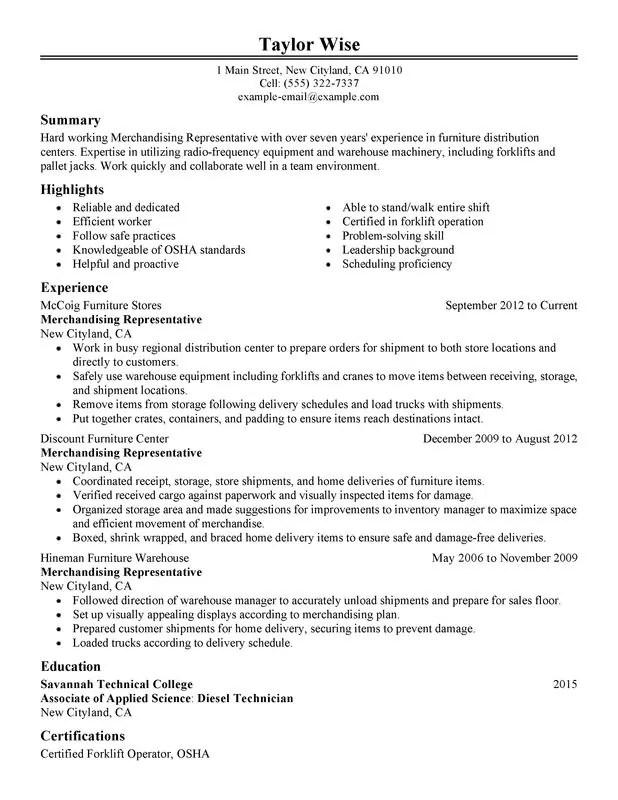 merchandising representative resume sample merchandise associate