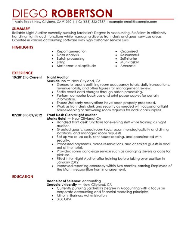 night auditor resume sample my perfect resume