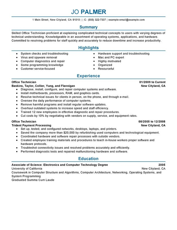 office technician my perfect resume