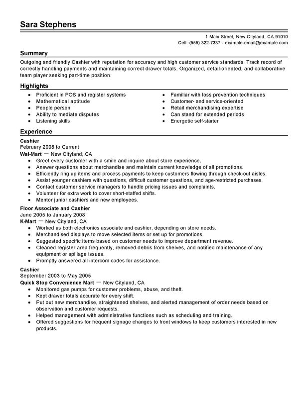 unforgettable part time cashiers resume examples to stand out