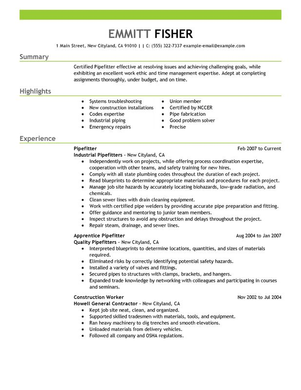 unforgettable pipefitter resume examples to stand out