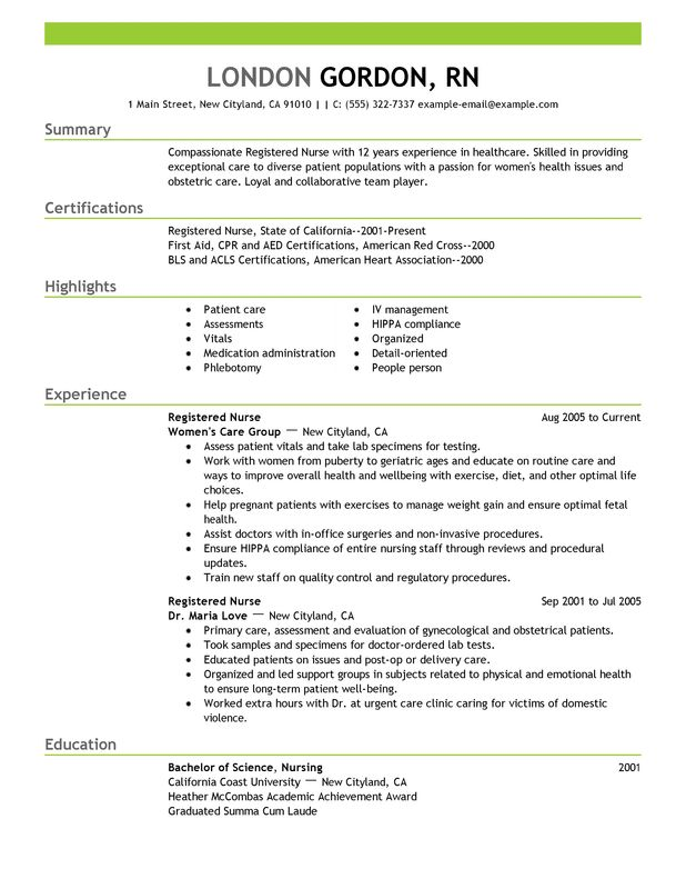 Medical Surgical Rn Resume Examples. Sample Registered Nurse