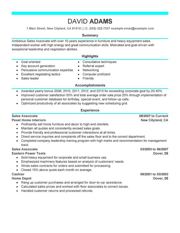 Retail Sales Associate Job Description On Resume. Sales Associate