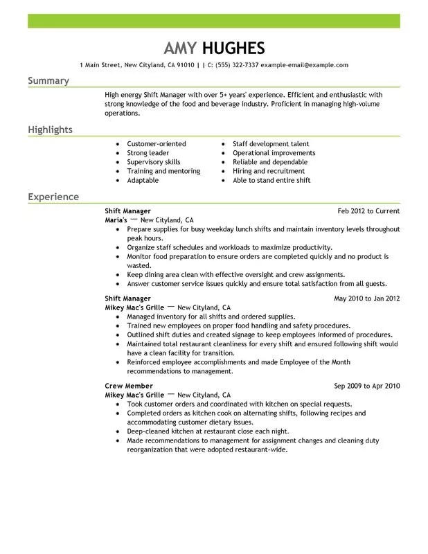 Bar Resume Examples. Unforgettable Shift Manager Resume Examples