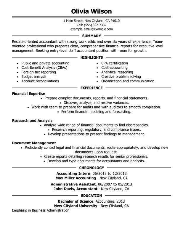 staff accountant resume sample my perfect resume