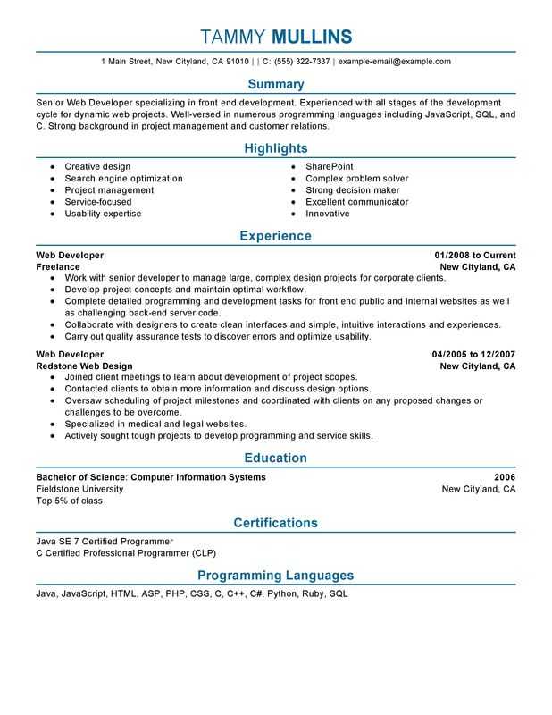 It Developer Resume Example. samples resume sample core java ...