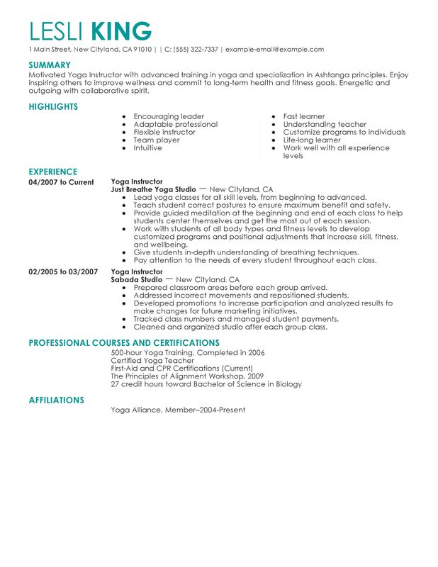 yoga instructor resume sample my perfect resume