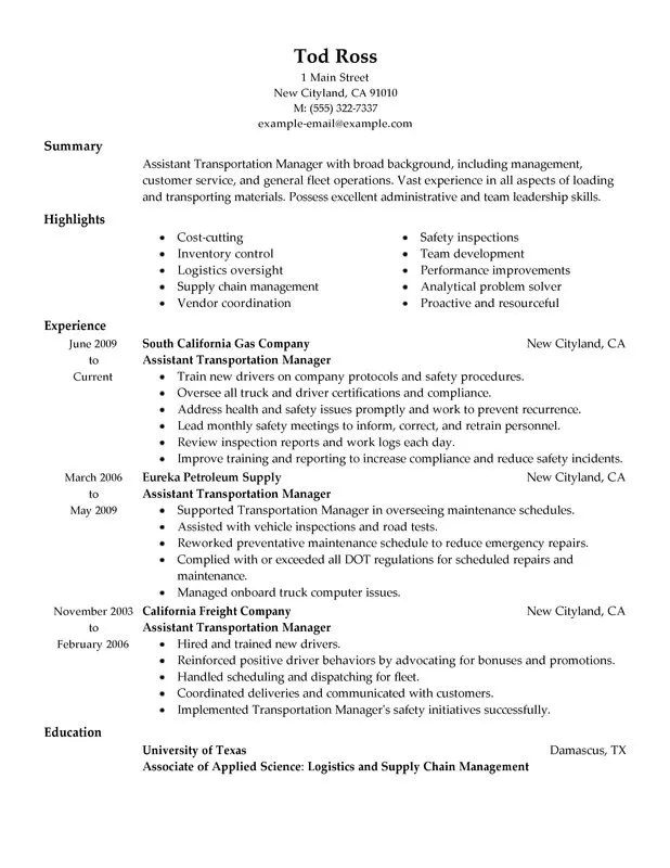 fleet maintenance manager resume assistant manager my perfect