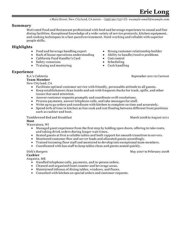 Impactful Professional Food Restaurant Resume Examples  Restaurant Resume Sample