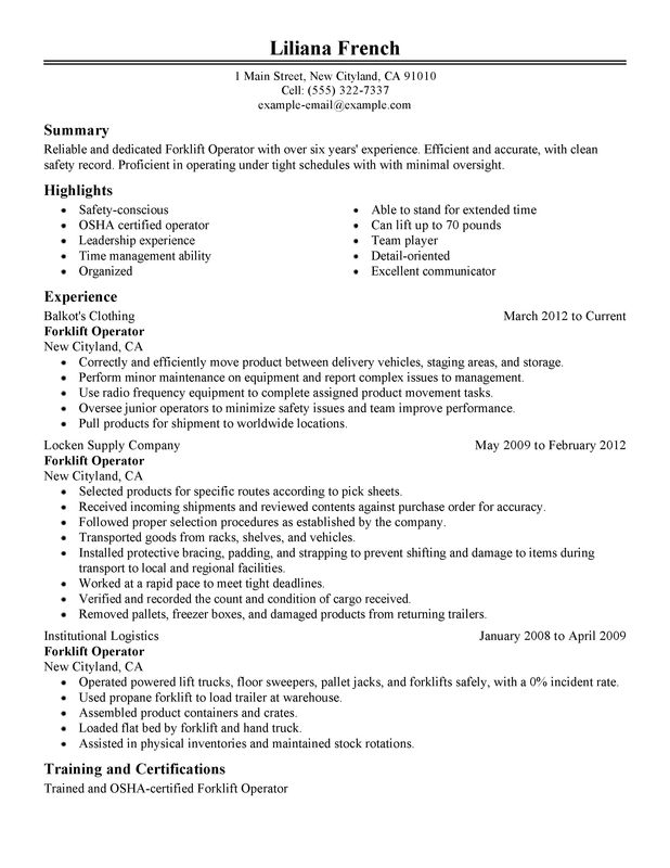 Example Of A Perfect Job Resume. Forklift Operator Resume Sample